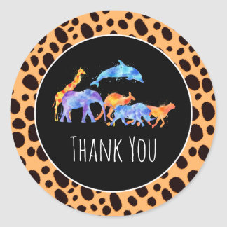 Wild Animals on Exotic Cheetah Print Thank You Classic Round Sticker