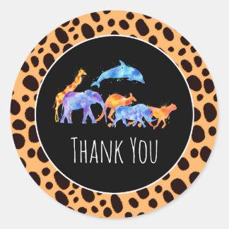 Wild Animals on Exotic Cheetah Print Thank You Classic Round Sticker