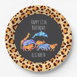 Wild Animals on Exotic Leopard Print Birthday Paper Plate