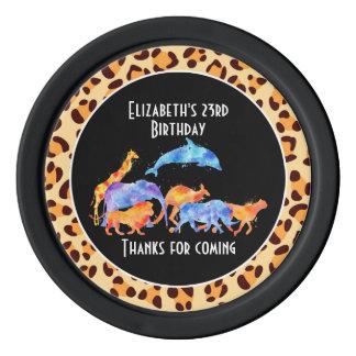 Wild Animals on Leopard Print Birthday Poker Chips