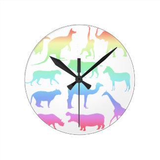 Wild Animals Round Clock