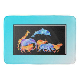 Wild Animals Running Together Colorful Watercolor Bath Mat