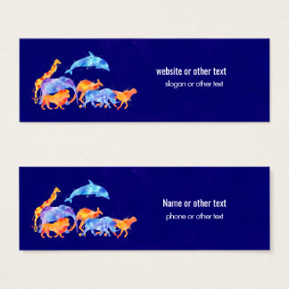 Wild Animals Running Together Colorful Watercolor Mini Business Card