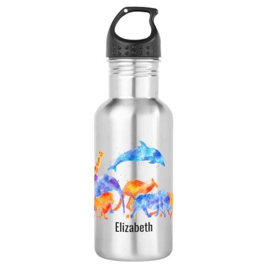 Wild Animals Running Together Colourful Watercolor 532 Ml Water Bottle