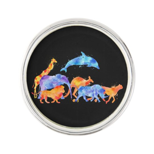Wild Animals Running Together Colourful Watercolor Lapel Pin
