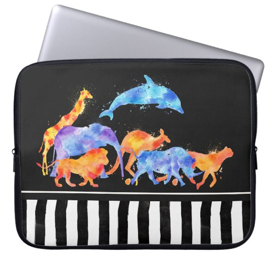 Wild Animals Running Together Colourful Watercolor Laptop Sleeve