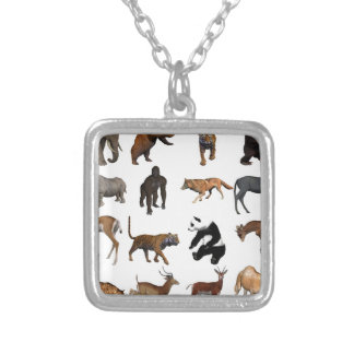 Wild animals silver plated necklace