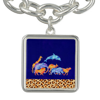 Wild Animals with a Leopard Print Border Bracelet