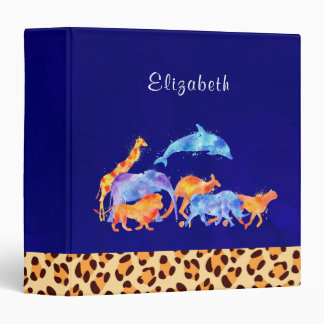 Wild Animals with a Leopard Print Border Custom 3 Ring Binder