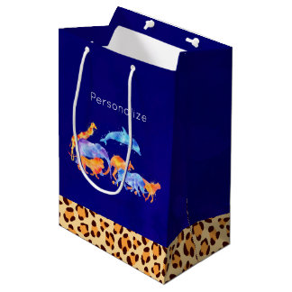 Wild Animals with a Leopard Print Border Medium Gift Bag