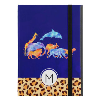 "Wild Animals with a Leopard Print Border Monogram iPad Pro 9.7"" Case"
