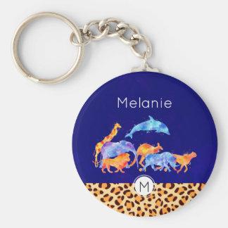 Wild Animals with a Leopard Print Border Monogram Keychain