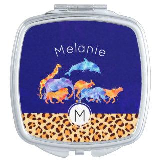 Wild Animals with a Leopard Print Border Monogram Makeup Mirror
