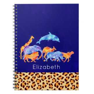 Wild Animals with a Leopard Print Border Notebooks