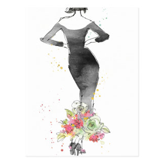 Wild Apple   Chic Floral Dress Sketch Postcard
