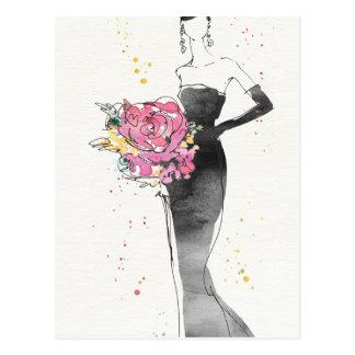 Wild Apple   Floral Fashion Dress Sketch Postcard