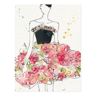 Wild Apple   Glamorous Floral Dress Sketch Postcard