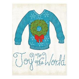 Wild Apple   Joy To The World - Christmas Sweater Postcard