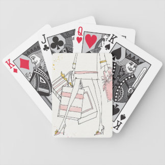 Wild Apple | Modern Pink Fashion Sketch Bicycle Playing Cards