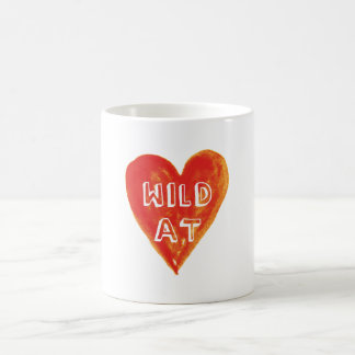 wild at heart, red heart with text design coffee mug