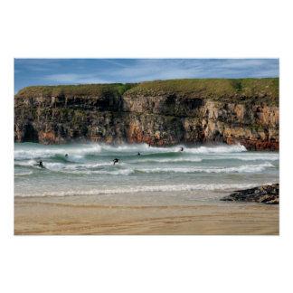 wild atlantic way surfers competition near cliffs poster