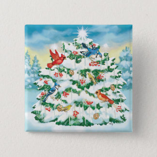 Wild Birds in Nature with Starlit Christmas Tree 2 Inch Square Button