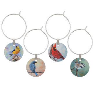 Wild Birds Original Art Wine Glass Charm