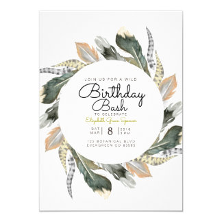 Wild Birthday Bash | Feather Watercolor Circle Card