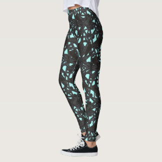 Wild Black and Teal Majestic Vines Leggings