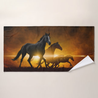 Wild Black Horses Bath Towel
