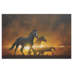 Wild Black Horses Tapestry Fabric