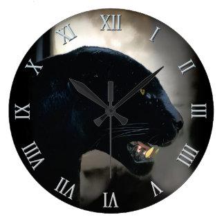 Wild Black Panther Animal-lover Large Clock