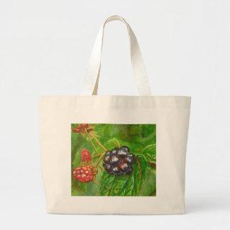 Wild Blackberries ripening in Summer Large Tote Bag