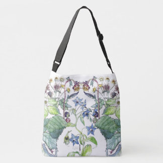 Wild Blackberry Borage Wildflower Floral Tote Bag