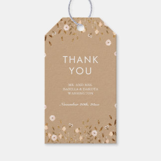 Wild Blossom | Gold Floral Elegant Thank You Pack Of Gift Tags