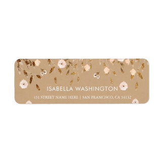 Wild Blossom | Gold Glitter Floral Elegant Kraft Return Address Label
