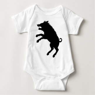 Wild Boar Black and White Silhouette Baby Bodysuit
