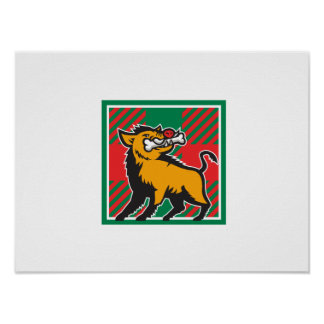 Wild Boar Bone In Mouth Tartan Square Retro Poster