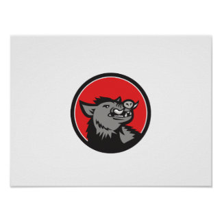 Wild Boar Head Angry Looking Up Circle Retro Poster