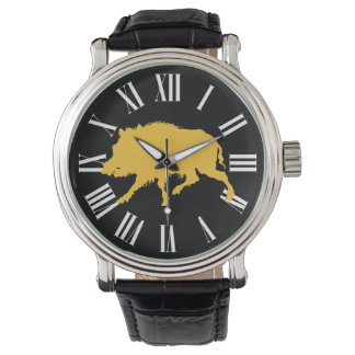 Wild Boar in Black Silhouette Hunting Man's Watch