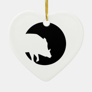 Wild boar moon ceramic ornament