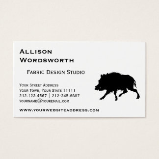 Wild Boar or Wild Pig Elegant Silhouette Business Card