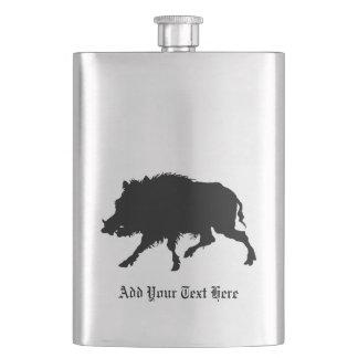 Wild Boar or Wild Pig Elegant Silhouette Hip Flask