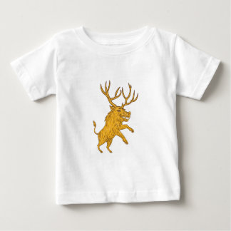 Wild Boar Razorback With Antlers Prancing Drawing Baby T-Shirt