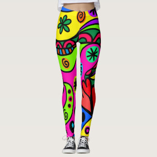 Wild, Bold, Bright Abstract Psychedelic Design Leggings