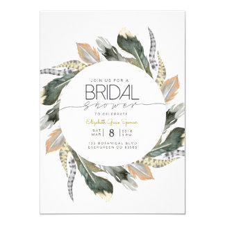 Wild Bridal Shower | Feather Watercolor Circle Card