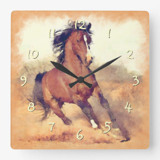 Wild Brown Mustang Horse Watercolor Painting Clock