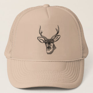 Wild Buck Deer Drawing Trucker Hat