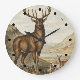 Wild Buck Large Clock