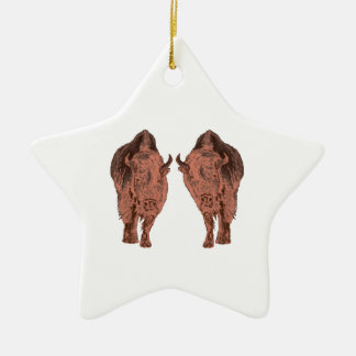 Wild Buffalo Ceramic Star Ornament